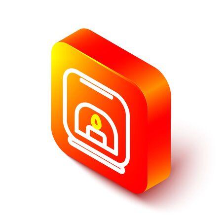 Isometric line Aroma lamp icon isolated on white background. Orange square button. Vector Illustration