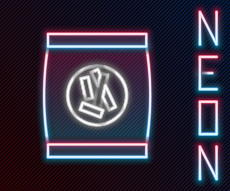 Glowing neon line Hard bread chucks crackers icon isolated on black background. Colorful outline concept. Vector Illustration