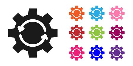 Black Gear and arrows as workflow concept icon isolated on white background. Gear reload sign. Set icons colorful. Vector Illustration