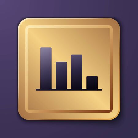 Purple Pie chart infographic icon isolated on purple background. Diagram chart sign. Gold square button. Vector Illustration Ilustracja