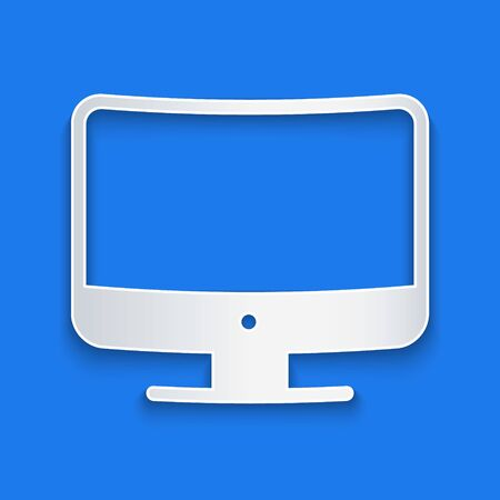Paper cut Computer monitor screen icon isolated on blue background. Electronic device. Front view. Paper art style. Vector Illustration Vectores