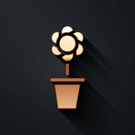 Gold Flower in pot icon isolated on black background. Plant growing in a pot. Potted plant sign. Long shadow style. Vector Illustration