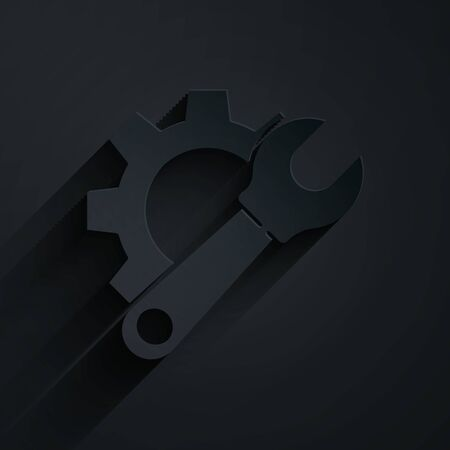 Paper cut Wrench spanner and gear icon isolated on black background. Adjusting, service, setting, maintenance, repair, fixing. Paper art style. Vector Illustration