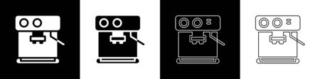Set Coffee machine icon isolated on black and white background. Vector Illustration Ilustrace