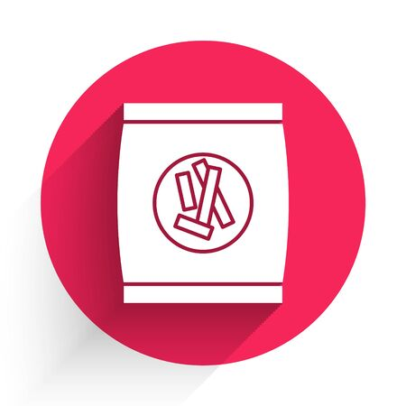 White Hard bread chucks crackers icon isolated with long shadow. Red circle button. Vector Illustration