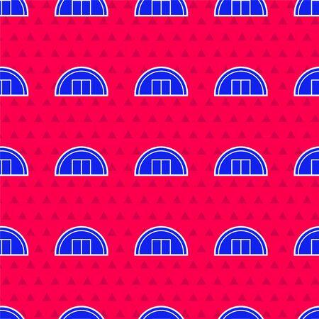 Blue Warehouse icon isolated seamless pattern on red background. Vector Illustration Ilustração