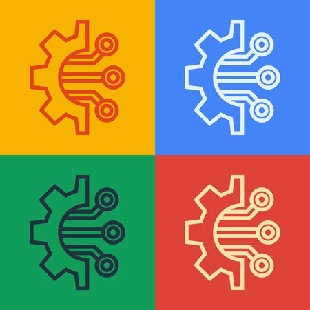 Pop art line Algorithm icon isolated on color background. Algorithm symbol design from Artificial Intelligence collection.  Vector Illustration