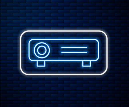 Glowing neon line Presentation, movie, film, media projector icon isolated on brick wall background.  Vector Illustration Ilustracja