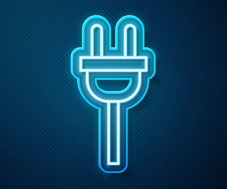 Glowing neon line Electric plug icon isolated on blue background. Concept of connection and disconnection of the electricity.  Vector Illustration Ilustracja