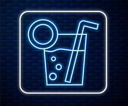 Glowing neon line Cocktail icon isolated on brick wall background.  Vector Illustration Ilustrace