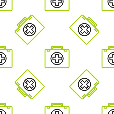 Line First aid kit icon isolated seamless pattern on white background. Medical box with cross. Medical equipment for emergency. Healthcare concept. Vector Illustration Ilustracja