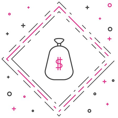 Line Money bag icon isolated on white background. Dollar or USD symbol. Cash Banking currency sign. Colorful outline concept. Vector Illustration