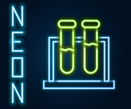Glowing neon line Test tube and flask chemical laboratory test icon isolated on black background. Laboratory glassware sign. Colorful outline concept. Vector Illustration