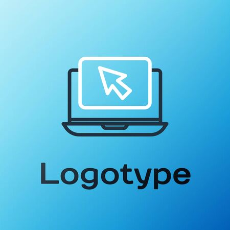Line Laptop and cursor icon isolated on blue background. Computer notebook with empty screen sign. Colorful outline concept. Vector Illustration Illustration