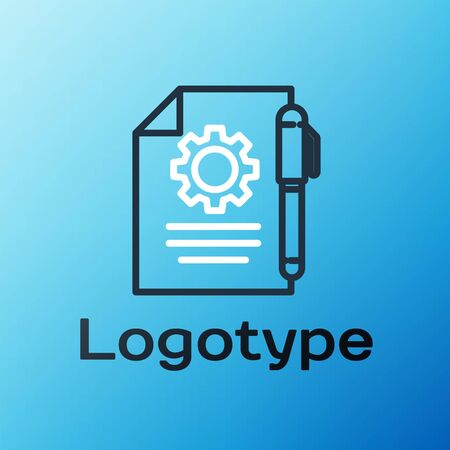 Line Document settings with gears icon isolated on blue background. Software update, transfer protocol, teamwork tool management. Colorful outline concept. Vector Illustration