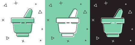 Set Mortar and pestle icon isolated on white and green, black background. Vector Illustration