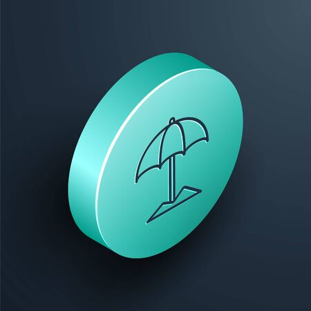 Isometric line Sun protective umbrella for beach icon isolated on black background. Large parasol for outdoor space. Beach umbrella. Turquoise circle button. Vector Illustration