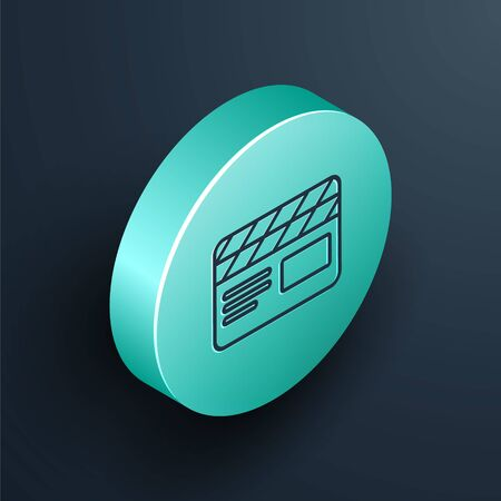 Isometric line Movie clapper icon isolated on black background. Film clapper board. Clapperboard sign. Cinema production or media industry. Turquoise circle button. Vector Illustration