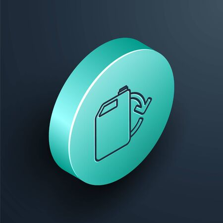 Isometric line Eco fuel canister icon isolated on black background. Eco bio and barrel. Green environment and recycle. Turquoise circle button. Vector Illustration