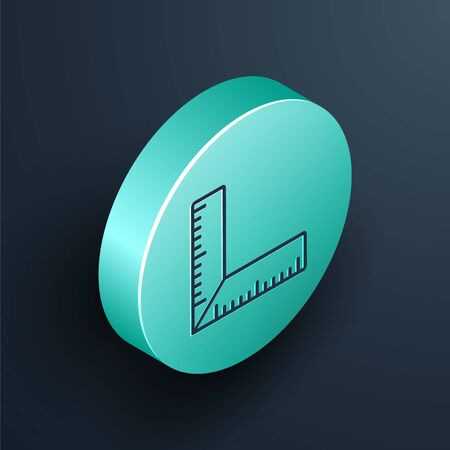 Isometric line Corner ruler icon isolated on black background. Setsquare, angle ruler, carpentry, measuring utensil, scale. Turquoise circle button. Vector Illustration Vetores