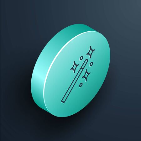 Isometric line Magic wand icon isolated on black background. Star shape magic accessory. Magical power. Turquoise circle button. Vector Illustration