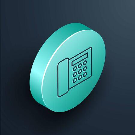Isometric line Telephone icon isolated on black background. Landline phone. Turquoise circle button. Vector Illustration