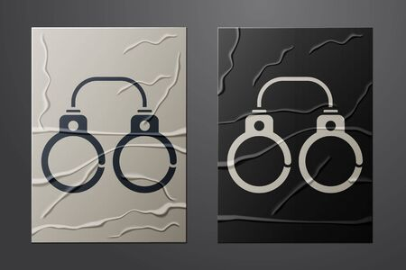White Sexy fluffy handcuffs icon isolated on crumpled paper background. Fetish accessory. Sex shop stuff for sadist and masochist. Paper art style. Vector