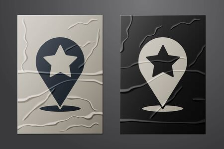White Map pointer with star icon isolated on crumpled paper background. Star favorite pin map icon. Map markers. Paper art style. Vector