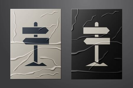 White Road traffic sign. Signpost icon isolated on crumpled paper background. Pointer symbol. Street information sign. Direction sign. Paper art style. Vector