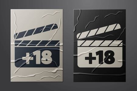 White Movie clapper with 18 plus content icon isolated on crumpled paper background. Age restriction symbol. Adult channel. Paper art style. Vector Vettoriali