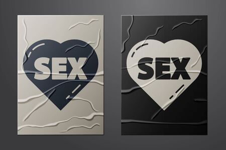 White Heart with text Sex icon isolated on crumpled paper background. Adults content only icon. Paper art style. Vector Ilustracja