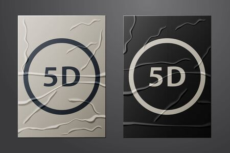 White 5d virtual reality icon isolated on crumpled paper background.