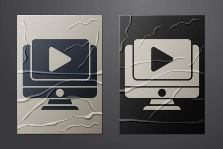 White Online play video icon isolated on crumpled paper background. Computer monitor and film strip with play sign. Paper art style. Vector