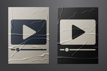White Online play video icon isolated on crumpled paper background. Film strip with play sign. Paper art style. Vector