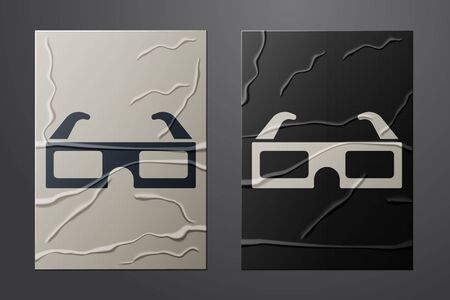 White 3D cinema glasses icon isolated on crumpled paper background. Paper art style. Vector Vettoriali