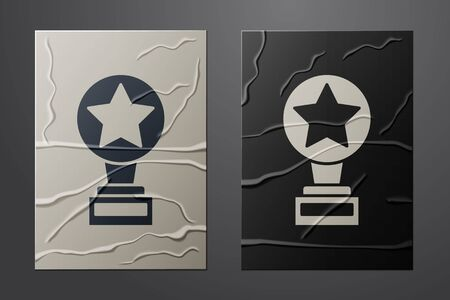 White Movie trophy icon isolated on crumpled paper background. Academy award icon. Films and cinema symbol. Paper art style. Vector