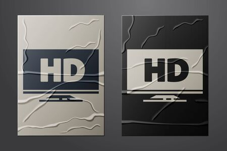 White Smart display with HD video technology icon isolated on crumpled paper background. Paper art style. Vector