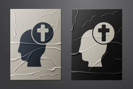White Human head with christian cross icon isolated on crumpled paper background. Paper art style. Vector