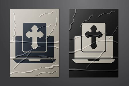 White Cross on the laptop screen icon isolated on crumpled paper background. Paper art style. Vector