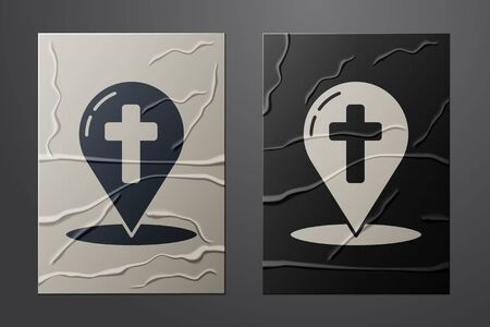 White Map pointer with christian cross icon isolated on crumpled paper background. Paper art style. Vector