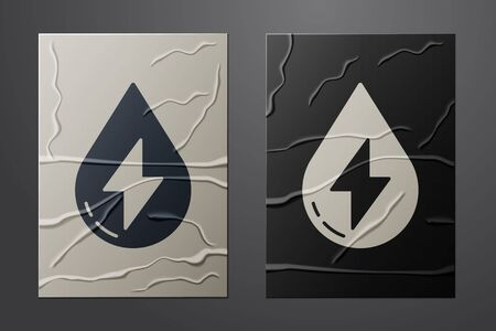 White Water energy icon isolated on crumpled paper background. Ecology concept with water droplet. Alternative energy concept. Paper art style. Vector