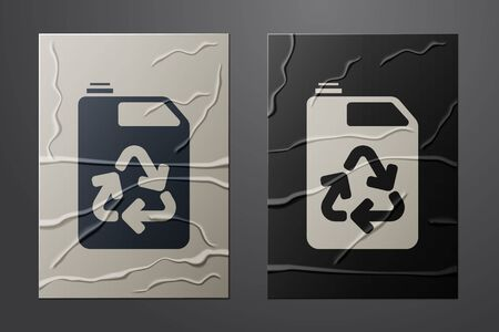 White Eco fuel canister icon isolated on crumpled paper background. Eco bio and barrel. Green environment and recycle. Paper art style. Vector