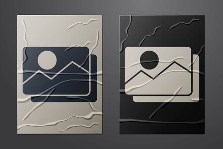 White Picture landscape icon isolated on crumpled paper background. Paper art style. Vector