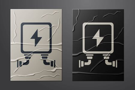 White Electric transformer icon isolated on crumpled paper background. Paper art style. Vector Illustration