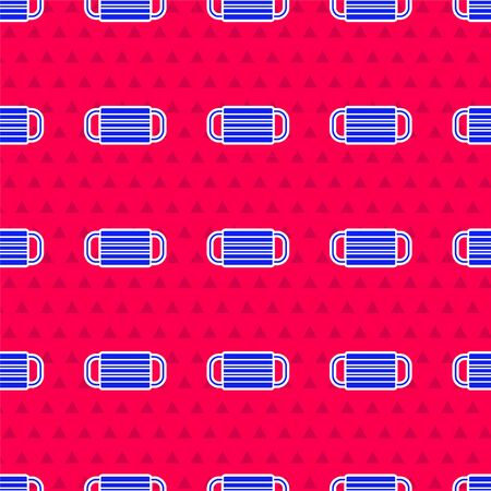 Blue Medical protective mask icon isolated seamless pattern on red background. Vector Illustration Ilustracja