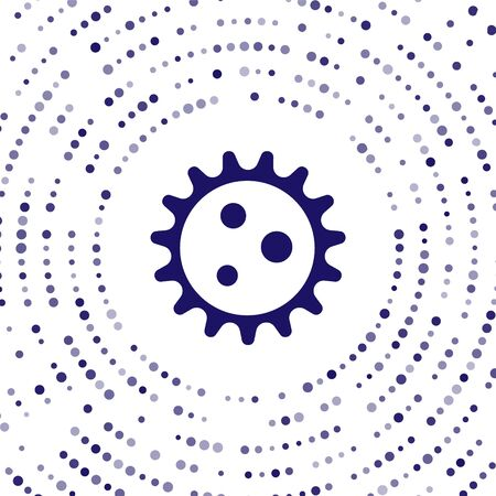 Blue Virus icon isolated on white background. Corona virus 2019-nCoV. Bacteria and germs, cell cancer, microbe, fungi. Abstract circle random dots. Vector Illustration Ilustracja