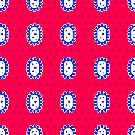 Blue Virus icon isolated seamless pattern on red background. Corona virus 2019-nCoV. Bacteria and germs, cell cancer, microbe, fungi. Vector Illustration Ilustracja