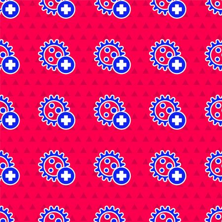 Blue Positive virus icon isolated seamless pattern on red background. Corona virus 2019-nCoV. Bacteria and germs, cell cancer, microbe, fungi. Vector Illustration