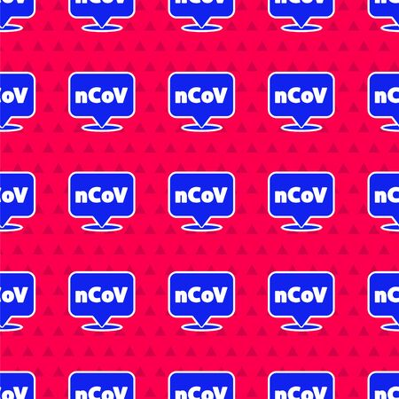 Blue Corona virus 2019-nCoV on location icon isolated seamless pattern on red background. Bacteria and germs, cell cancer, microbe, fungi. Vector