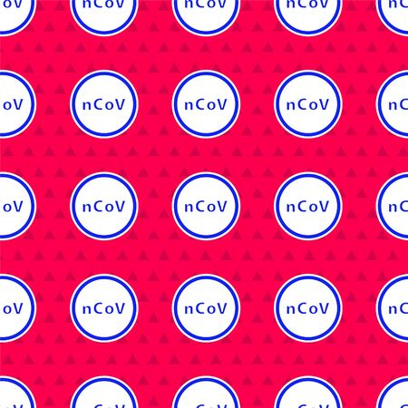 Blue Corona virus 2019-nCoV icon isolated seamless pattern on red background. Bacteria and germs, cell cancer, microbe, fungi. Vector